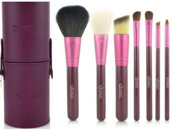 7 Pincéis Emily Makeup Roxo com Case + Brinde - FRETE GRÁTIS