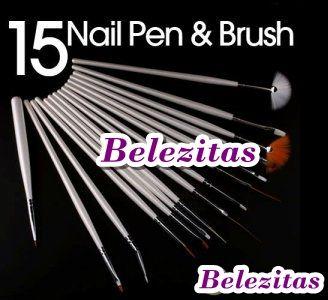 Kit 15 Pincéis para Nail Art - Frete Grátis